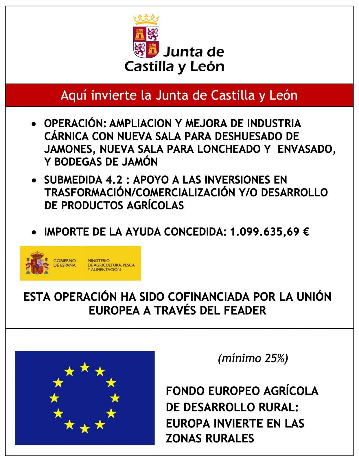 AMPLIACION Y MEJORA DE INDUSTRIA CÁRNICA CON NUEVA SALA PARA DESHUESADO DE JAMONES, NUEVA SALA PARA LONCHEADO Y ENVASADO, Y BODEGAS DE JAMÓN