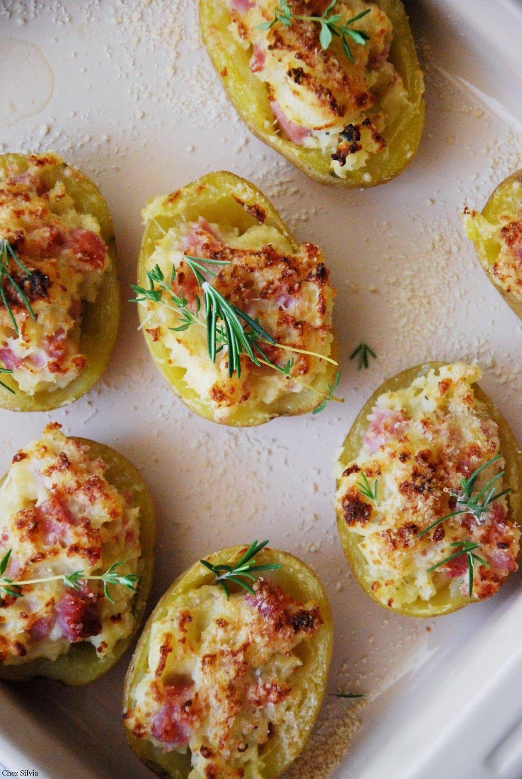 Patatas asadas rellenas de jamón y queso