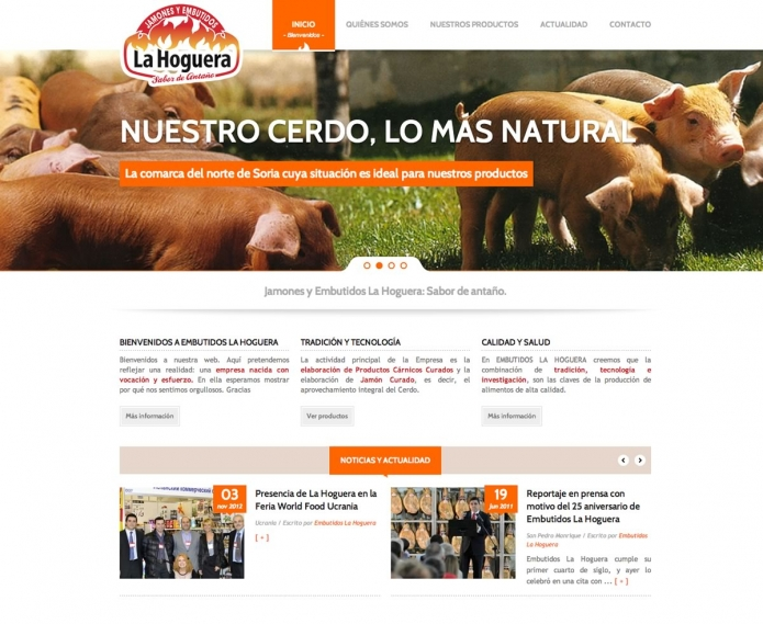 Aspecto de la nueva página web